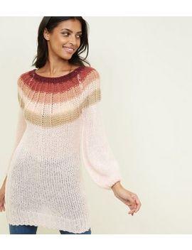 Pink Stripe Neckline Knitted Jumper by New Look