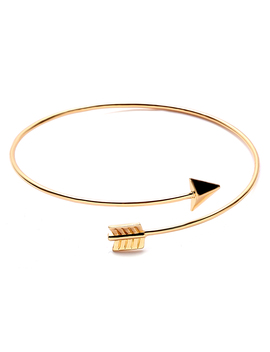 Gold Plated Arrow Wrap Bangle by Romwe
