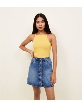 Petite Bright Blue Denim Button Front Mini Skirt by New Look