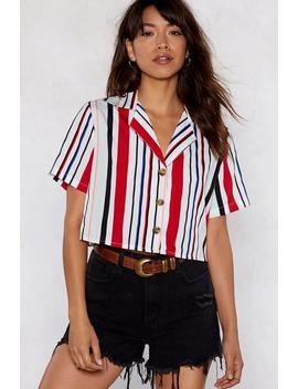 Stripe Round The Clock Cropped Shirt by Nasty Gal