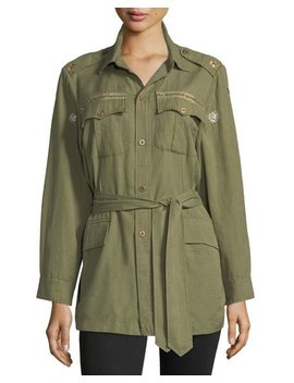 Tie Waist Army Shirt Jacket by Loveshackfancy