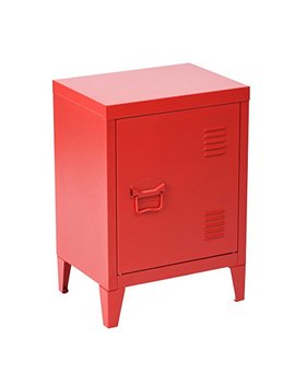 Housein Box Office File Storage School Lab Supplies Stand Storage 2 Tier Cabinet Shelves, Detachable 4 Legs,Size:15.9'' X 12'' X 22.6'',Red by Housein Box