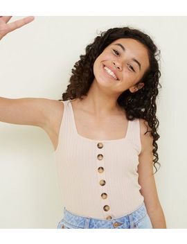 Girls Pale Pink Button Front Ribbed Vest by New Look