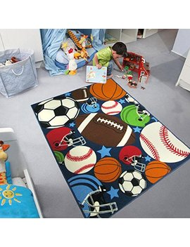 Blue Kids Rug Fun Sport Rugs Nylon Carpet Boys Girls Childrens Rug Balls Print With Soccer Ball, Basketball, Football, Tennis Ball Bedroom Playroom (100x130cm(39''x51'')) by Huahoo