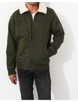 Sherpa Lined Aviator Jacket by Hollister