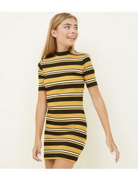 Girls Yellow Stripe High Neck Bodycon Dress by New Look
