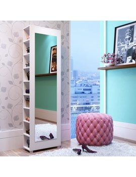 Valencia 2.0  9 Shelf Shoe Closet With Full Length Mirror In White by Accentuations By Manhattan Comfort