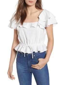 Cinched Drawstring Waist Linen Blend Top by Bp.