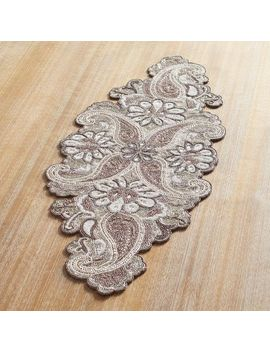 "White & Taupe Beaded Paisley 36"" Table Runner by Pier1 Imports"