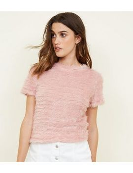 Pale Pink Fluffy T Shirt by New Look
