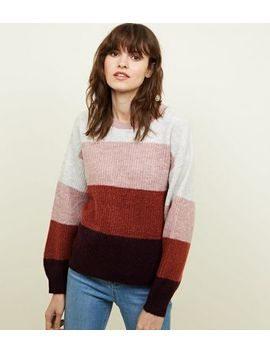 Pink Colour Block Knitted Jumper by New Look