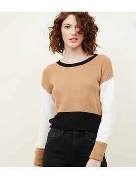 Brown Colour Block Turned Cuff Ribbed Jumper by New Look