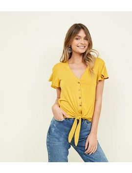 Mustard  Yellow Tie Button Front Top by New Look