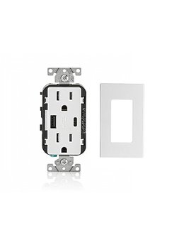 Leviton T5633 W 15 Amp Type A & Type C Usb Charger/Tamper Resistant Receptacle, White by Leviton
