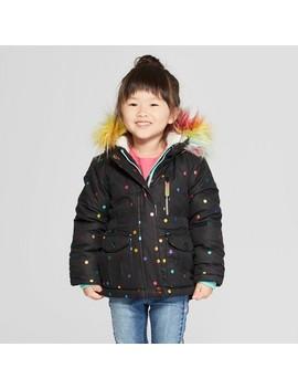 Toddler Girls' Rainbow Foil Parka   Cat & Jack™ Black by Shop All Cat & Jack™