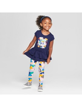 Toddler Girls' 2pc Short Sleeve Fun T Shirt And Leggings Set   Cat & Jack™ Navy/Polka Dots by Shop All Cat & Jack™