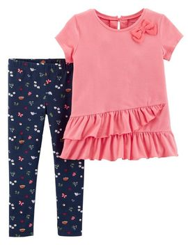 2 Piece Ruffle Top & Floral Legging Set by Carter's