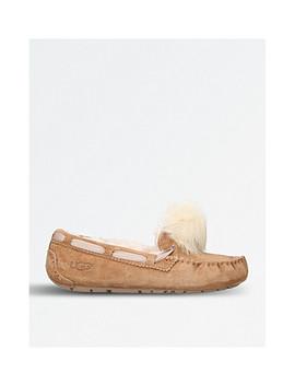 Dakota Wool Lined Suede Pom Pom Slippers by Ugg