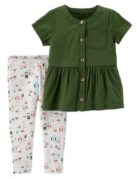 2 Piece Button Front Ruffle Top & Owl Legging Set by Carter's