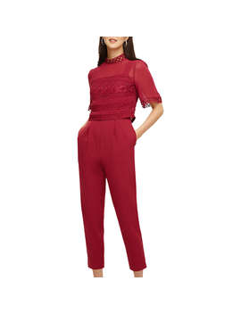 Phase Eight Lace Detail Jumpsuit, Bright Lipstick by Phase Eight