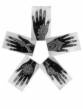 Pack Of 5 Left Upper Part Of Hand As Seen In Vogue Simply Indian Arabian Tattoo Patterns Reusable Stickers Laminau Stencils by Laminau