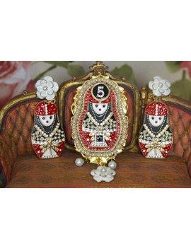 Set Of Coco Russian Matryoshka Massive Huge Pearl Enamel Brooch+ Earrings by Festy Designs