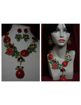 Massive Art Nouveau Dolce Vita  Crystal Lady Bug Enamel Necklace Set by Festy Designs