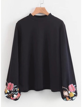 Floral Lantern Sleeve Blouse by Sheinside