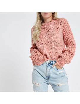 Petite Pink Chunky Knit Jumper by River Island