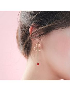 Heart Non Matching Drop Earring by Woqiao