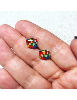 Rubik's Cube Earrings, Rubik Cube Earrings, Rubix Cube Earrings, Sensitive Ears, 1980's Earrings, Whimsical Earrings, Puzzle Earrings, by Beads Baubles Blessing