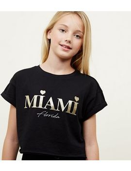 Girls Black Glitter Miami Print T Shirt by New Look