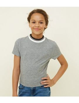 Girls Grey Marl Ribbed Glitter Crew Neck T Shirt by New Look