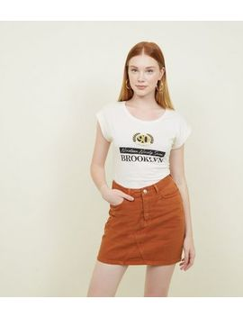 Off White Brooklyn Glitter Slogan T Shirt by New Look