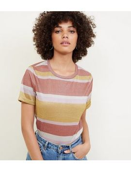 Rust Glitter Stripe T Shirt by New Look
