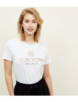 White 96 New York Glitter Print T Shirt by New Look