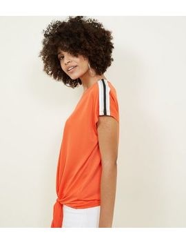 Orange Glitter Tape Sleeve Tie Side T Shirt by New Look