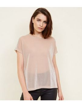 Pink Glitter Sequin Stripe Shoulder T Shirt by New Look