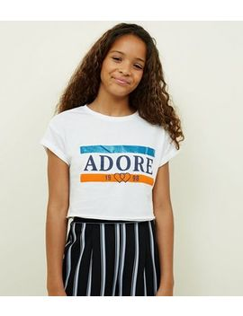 Girls White Adore Glitter Slogan T Shirt by New Look