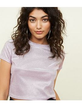 Cameo Rose Lilac Glitter Crop Top by New Look