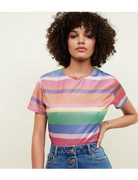 Cameo Rose Rainbow Glitter T Shirt by New Look