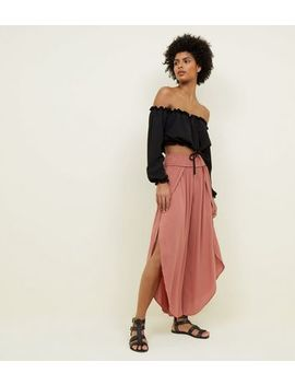 Coral Split Front Crop Trousers by New Look
