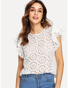 Eyelet Embroidered Ruffle Sleeve Top by Shein
