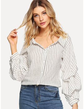 Gathered Sleeve Pinstripe Shirt by Shein