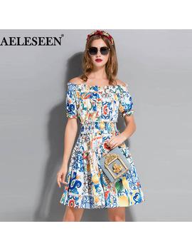 Aeleseen Puff Sleeve Runway Women Off Shoulder Dresses 2018 Fashion Shirred Porcelain Print Elastic Ruffles New Bohemian Dress by Aeleseen