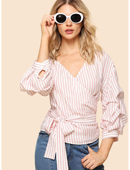Gathered Sleeve Striped Wrap Top by Shein