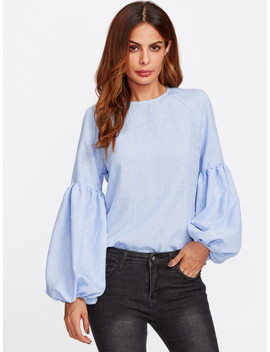 Exaggerated Lantern Sleeve Keyhole Back Top by Shein