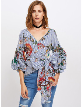 Gathered Sleeve Mixed Print Surplice Wrap Top by Shein