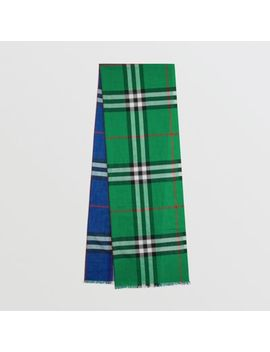 Colour Block Check Wool Silk Scarf by Burberry