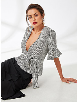 Flounce Sleeve Pinstripe Wrap Blouse by Shein